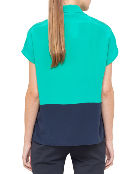 Two-tone blouse, silk, cap