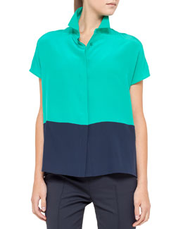 Akris punto Cap-Sleeve Colorblock Top