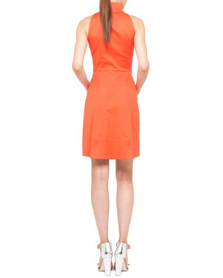 Sleeveless Pleated Zip-Front Dress