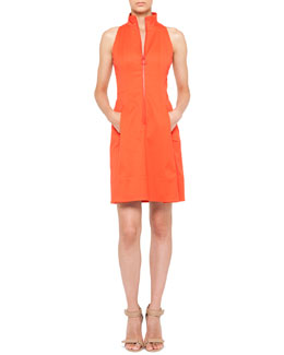 Akris punto Sleeveless Pleated Zip-Front Dress