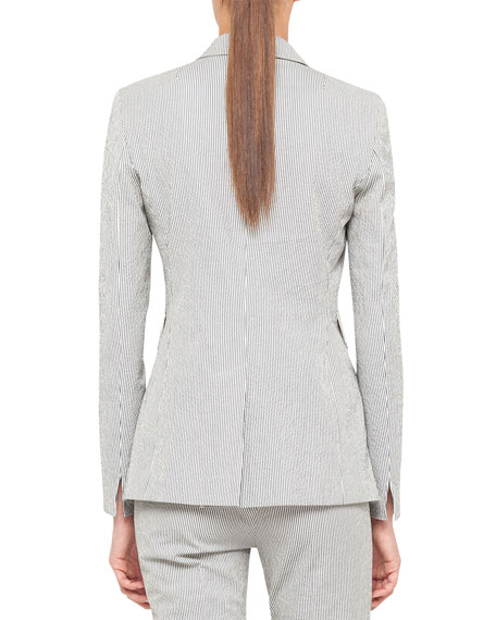 Single-Button Seersucker Blazer
