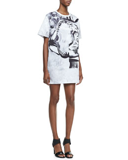 Faith Connexion Tiger-Print T-Shirtdress, White/Black