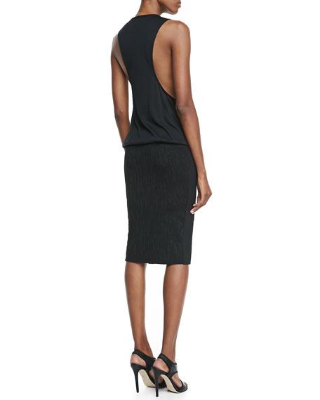 Printed Tank & Pencil Skirt Dress, Black