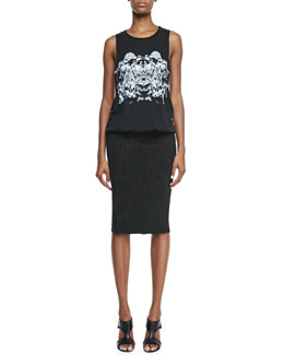 Faith Connexion Printed Tank & Pencil Skirt Dress, Black