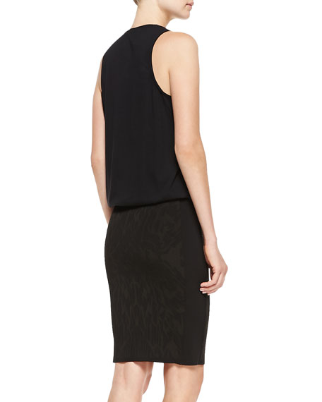 Mixed-Print Sleeveless T-Shirt Dress with Pencil Skirt