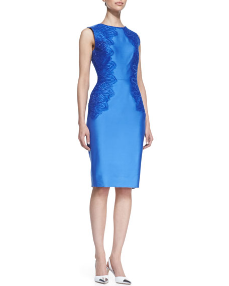 Satin Lace-Side Sheath Dress