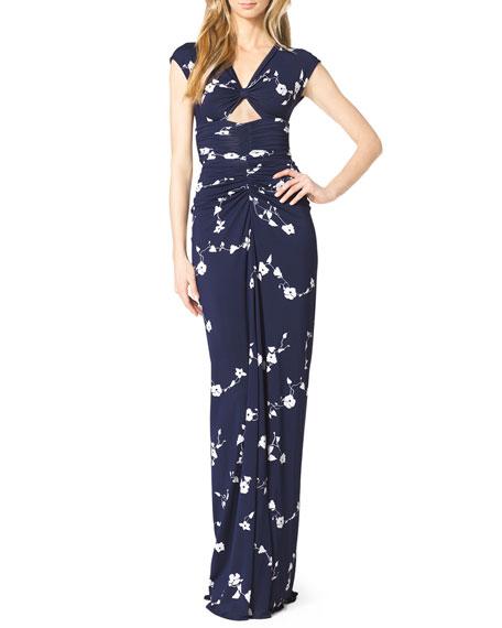 Cap-Sleeve Cutout Jersey Gown