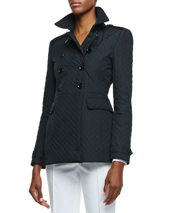 Double-Breasted Diamond Quilted Jacket, Navy