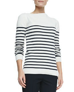 Burberry London Long-Sleeve Striped Boat-Neck Top, White/Navy