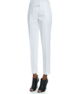 Burberry London Textured Twill Straight-Leg Pants