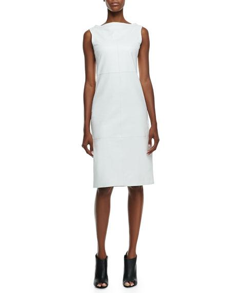 Leather Sleeveless Bateau Dress