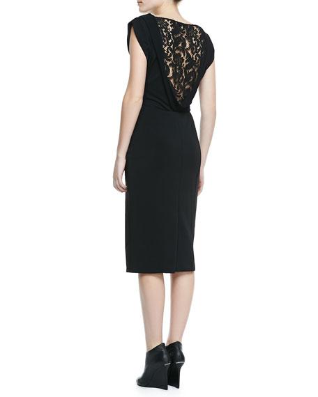 Boat-Neck Lace-Back Dress, Black