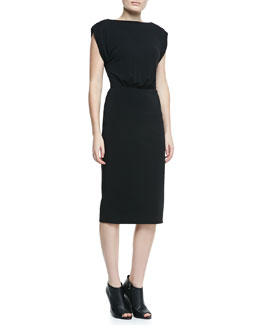 Burberry London Boat-Neck Lace-Back Dress, Black