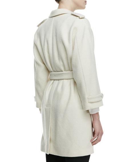 3/4-Sleeve Cashmere Tie Jacket, White