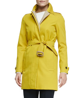Burberry London Long-Sleeve Single-Breasted Tech Jacket, Honey/Dandelion