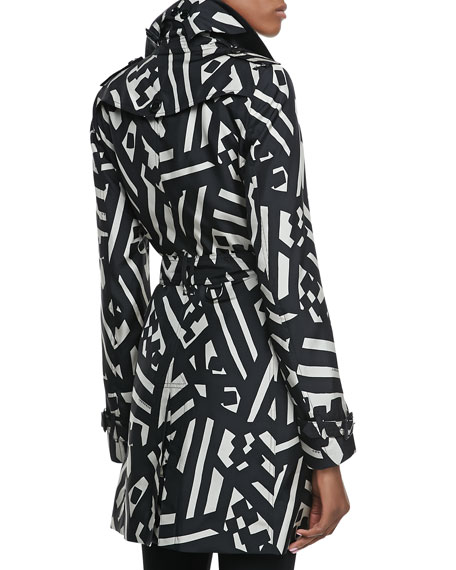 Printed Silk Trench Coat, Black/White