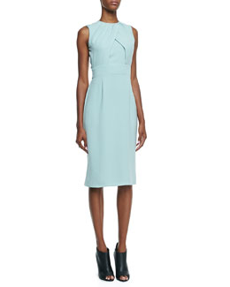 Burberry London Sleeveless Silk Cady Dress, Green Opal