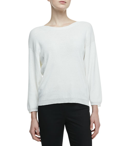 3/4-Sleeve Knit Top with Keyhole Back