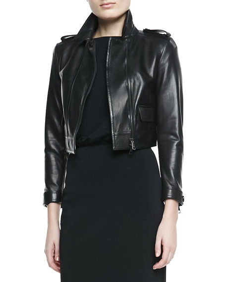 Cropped Leather Long-Sleeve Moto Jacket