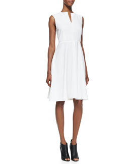 Burberry London Sleeveless Crepe V-Neck Dress, White