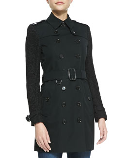 Burberry London Belted Lace-Sleeve Trenchcoat