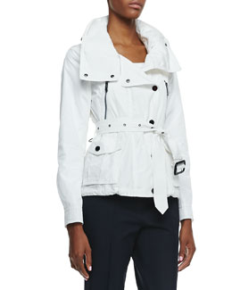 Burberry London Long-Sleeve Hideaway Utility Jacket