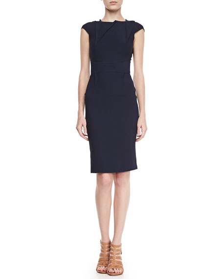 Brownlow Folded Double-Crepe Dress, Navy