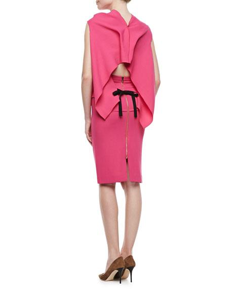 Eugene Drape-Front Open-Back Top, Pink