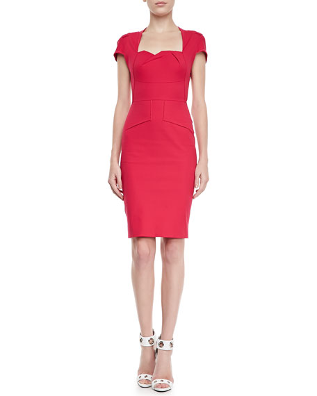 Ezra Square-Neck Molded Sheath Dress, Cherry