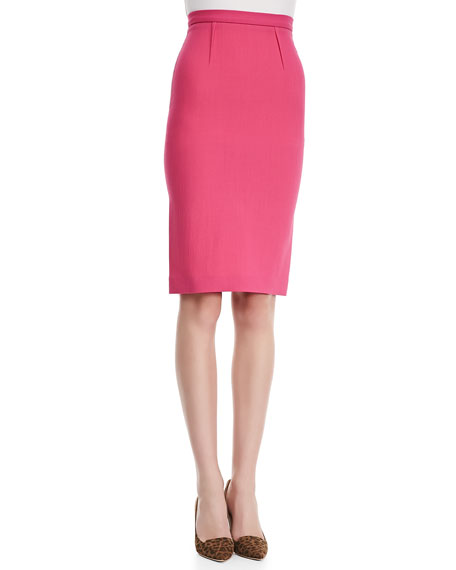 High-Waist Wool Crepe Pencil Skirt, Pink