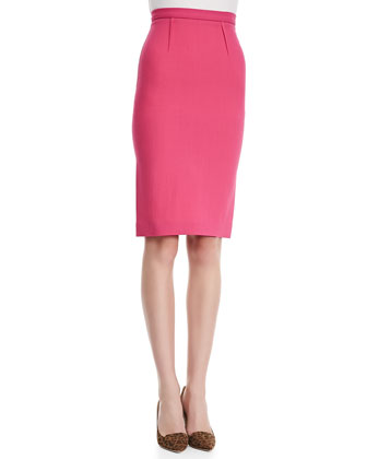 High-Waist Wool Crepe Pencil Skirt, Pink