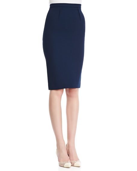 High-Waist Wool Crepe Pencil Skirt, Navy