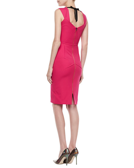 Pesco Sleeveless Darted Sheath Dress, Cherry