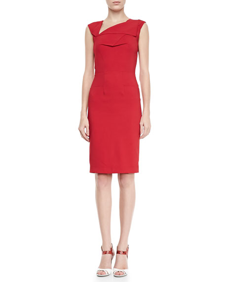 Skiffins Asymmetric V-Neck Sheath Dress, Red