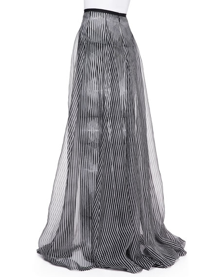 Optical-Print Long Organza Skirt