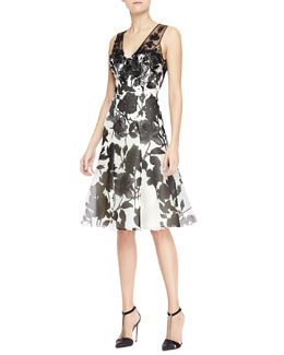 Carolina Herrera Sleeveless Embroidered Sheer-Back Dress, White/Black