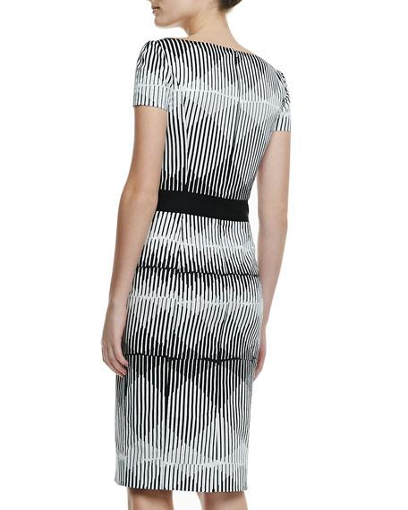 Short-Sleeve Illusion-Print Cotton Sheath Dress