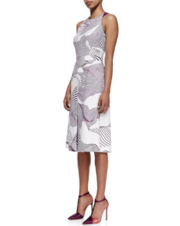Carolina Herrera Optical Illusion Printed Dress, Ivory/Orchid