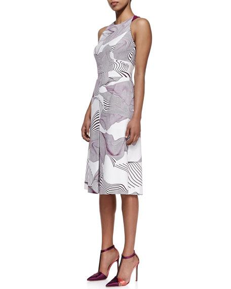 Optical Illusion Printed Dress, Ivory/Orchid
