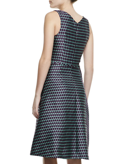 Sleeveless Geometric Cube Jacquard Dress, Purple/Green