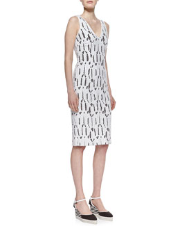 Carolina Herrera Shattered Glass Lace Dress, Off White