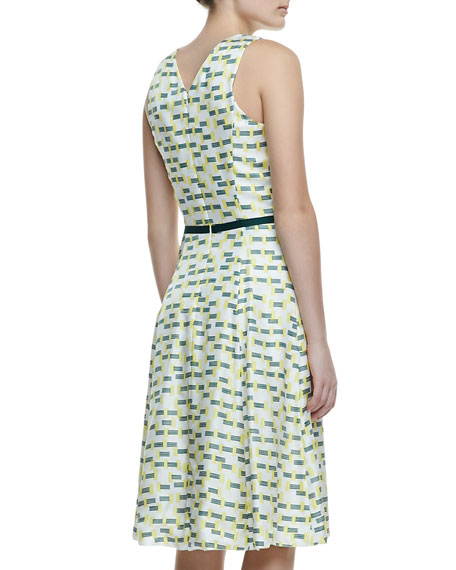 Crosshatch-Print Silk A-Line Dress, Green/Yellow