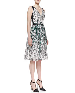 Carolina Herrera Paint-Splatter Pocket Silk Dress