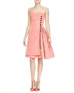 Carolina Herrera Strapless Taffeta Cocktail Dress with Button Front