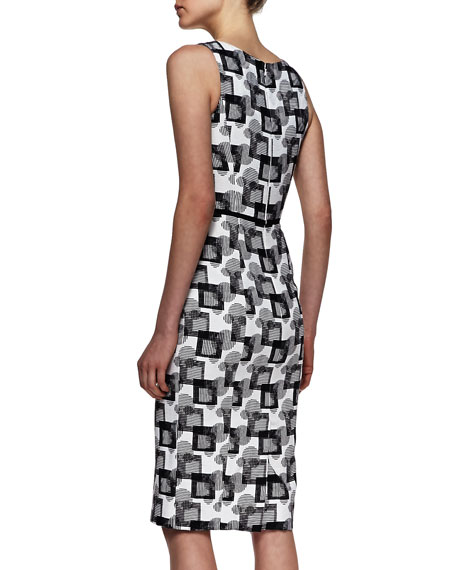 V-Neck Square Jacquard Dress