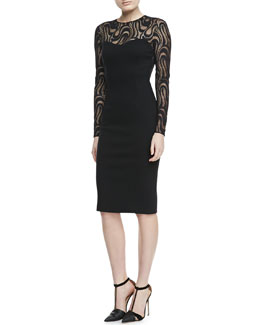 Carolina Herrera Lace-Long-Sleeve Dress, Black
