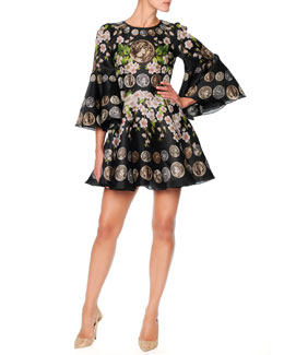 Dolce & Gabbana Coin-Print Bell-Sleeve Dress, Black/Multi