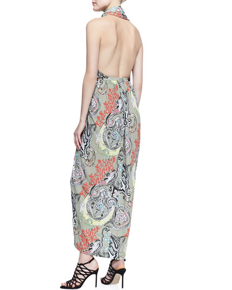Scarf-Neck Menagerie Printed Long Dress