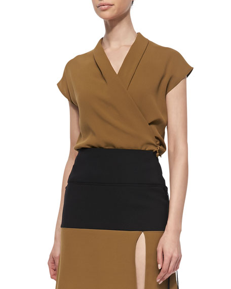 Cap-Sleeve Silk Wrap Blouse, Gold