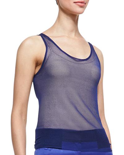 Giorgio Armani Sheer Silk Tank Top, Persian Blue